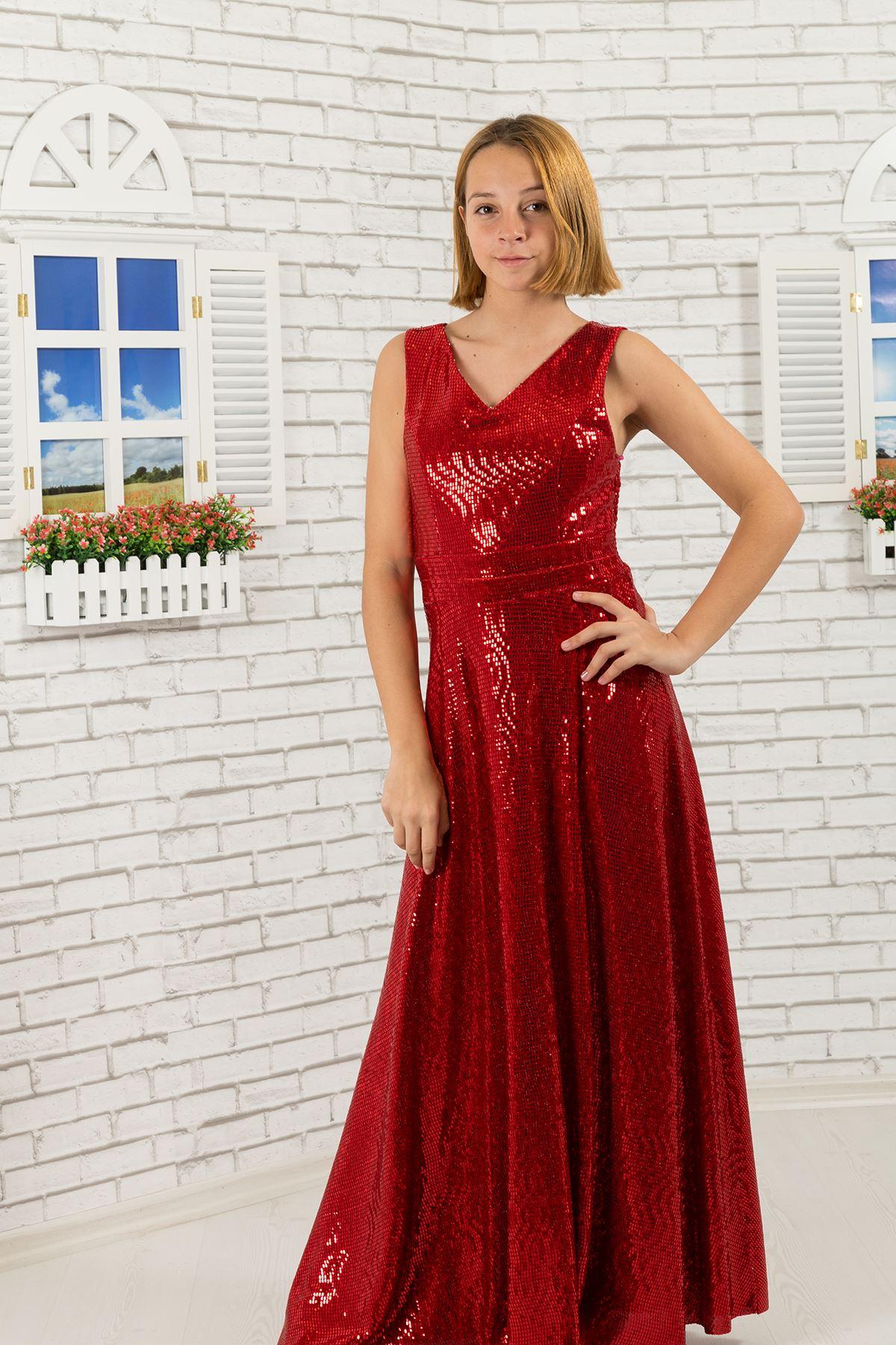 Sequin fabric, v-neck Girl Evening Dress 475 Red