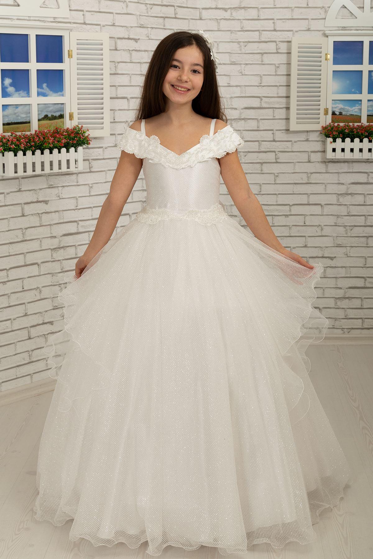 """С отворени рамене и деколте """"лодка"""", яка и колан бродирани пухкави момичета вечерна рокля 613 крем"""