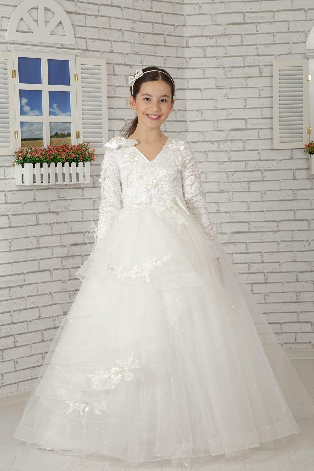Пушистое вечернее платье для девочек с длинным рукавом и отделкой плеч 605 Кремовое