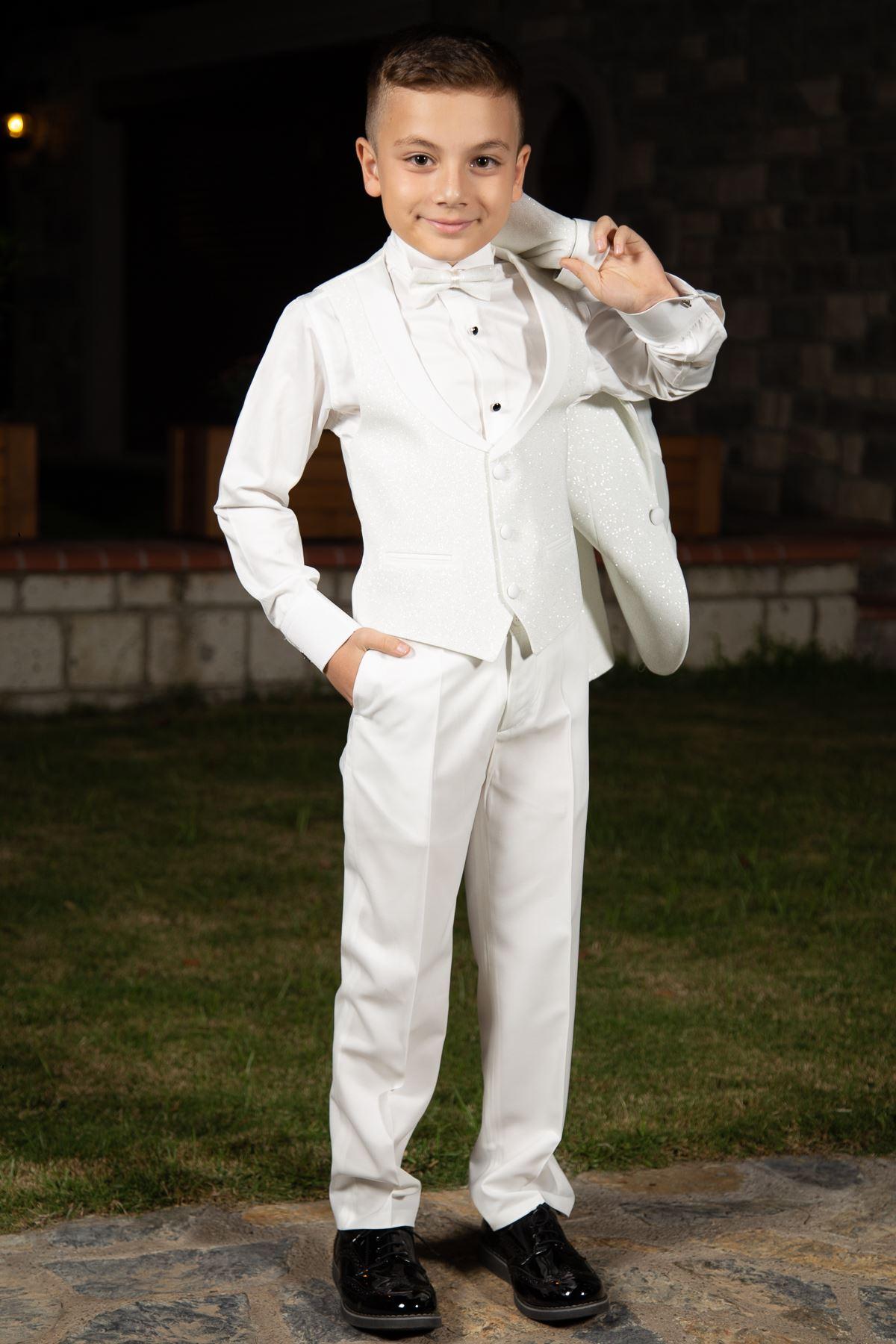 Tela plateada, cuello chal extraíble, conjunto completo 4 piezas niño traje especial 181 marfil