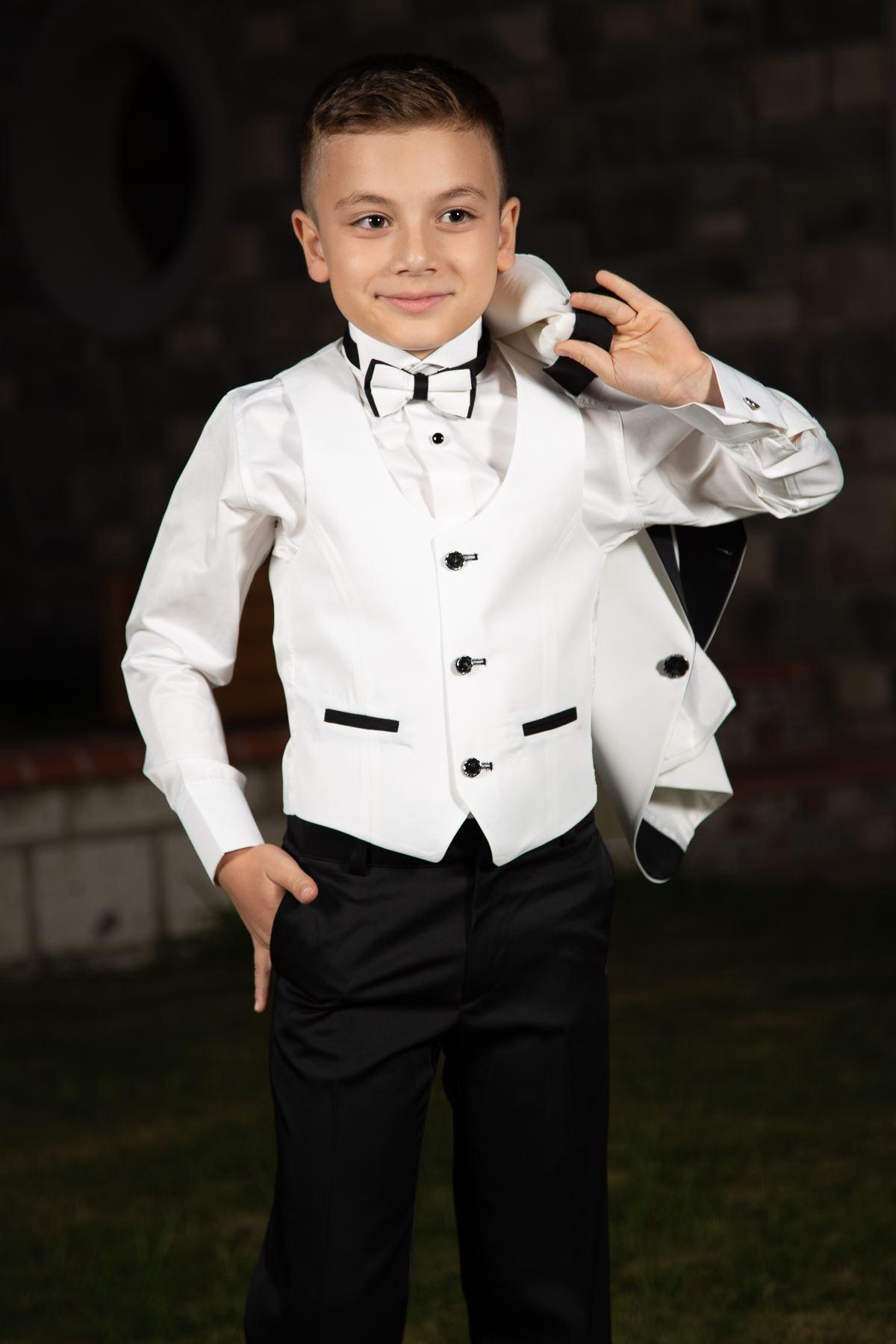 Яка за шал, едно копче, гарнитура детайл пълен комплект 4 части момче специален костюм 86 слонова кост