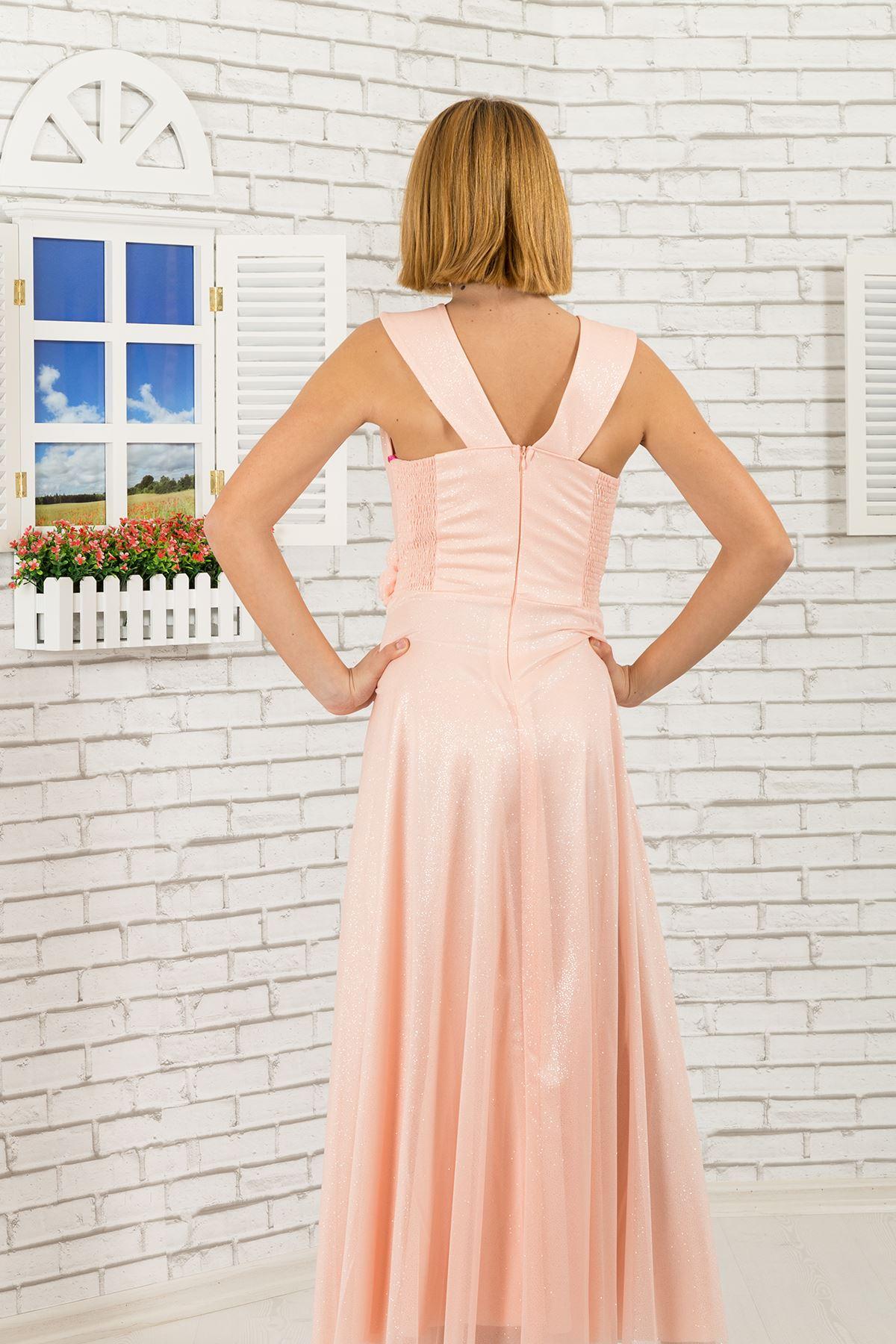 Silvery chiffon fabric, v-neck detailed Girl Evening Dress 470 Salmon
