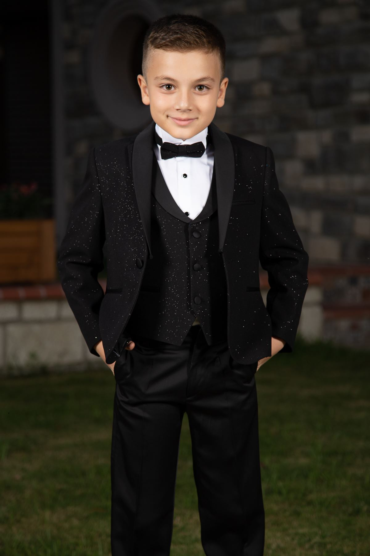 Silvery Fabric, Removable Shawl Collar, Full Set 4 Piece Boy Special Suit 181 Black