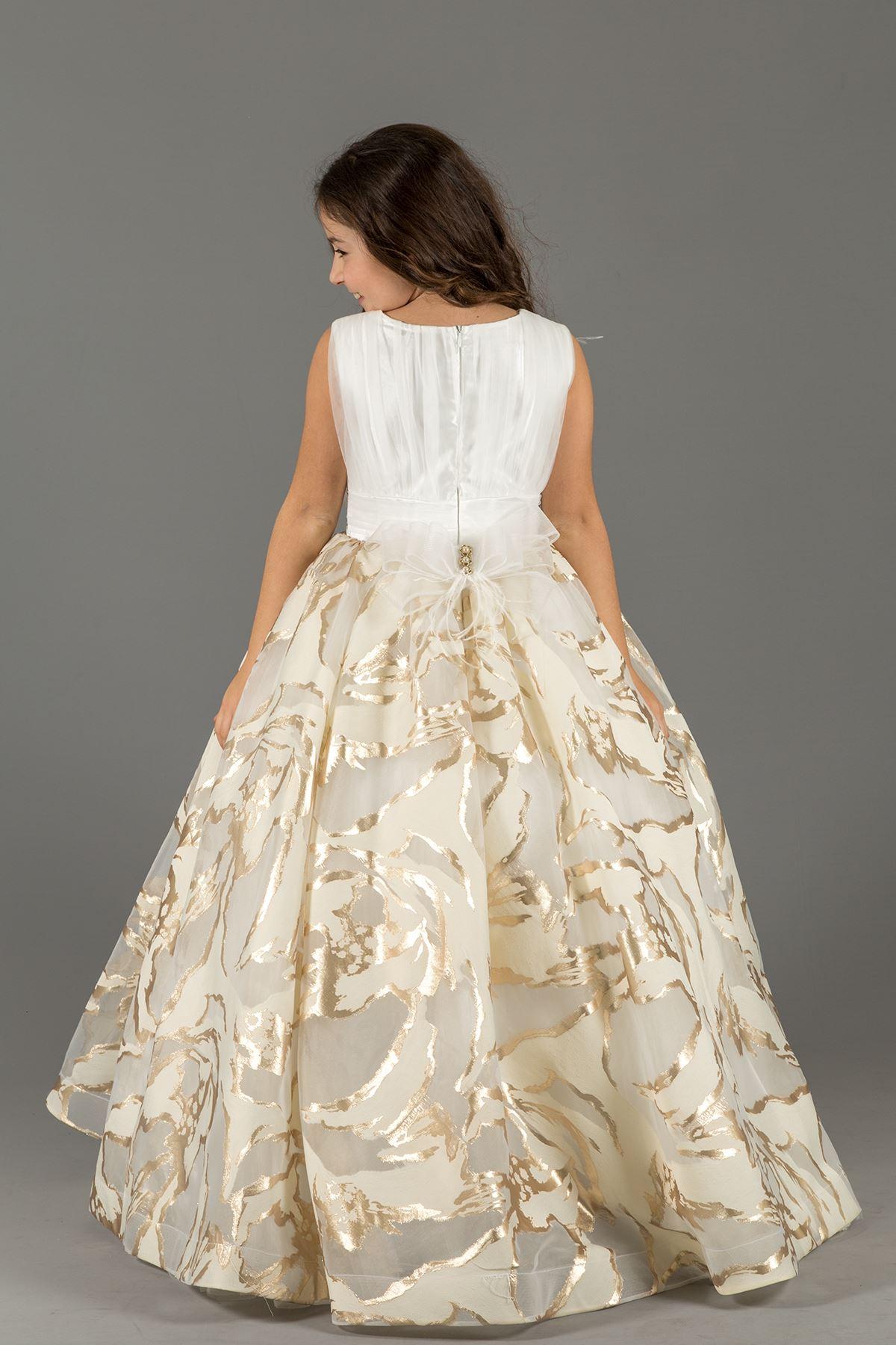 Горящая деталь ткани цифровой печати, пушистое вечернее платье девушки 590 золото
