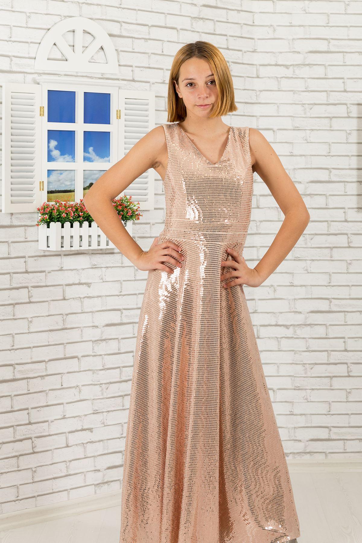 Sequin Tissu, V-cou fille robe de soirée 475 saumon