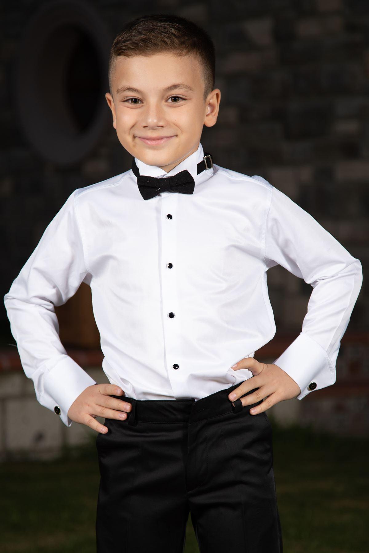 Hästkrage, svart manschettknapp, pojkeskjorta 1003 vit