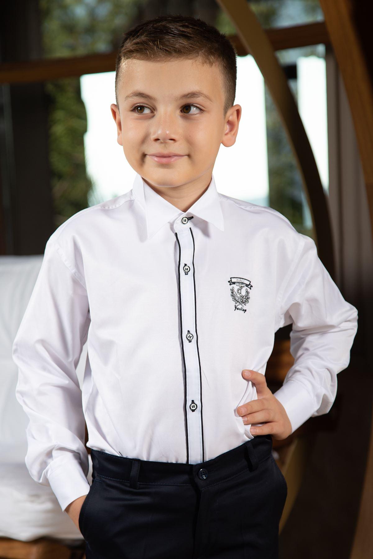 Koňský límec, dvojitá černá kravata, detail výšivky, chlapecká košile 1005 Bílá