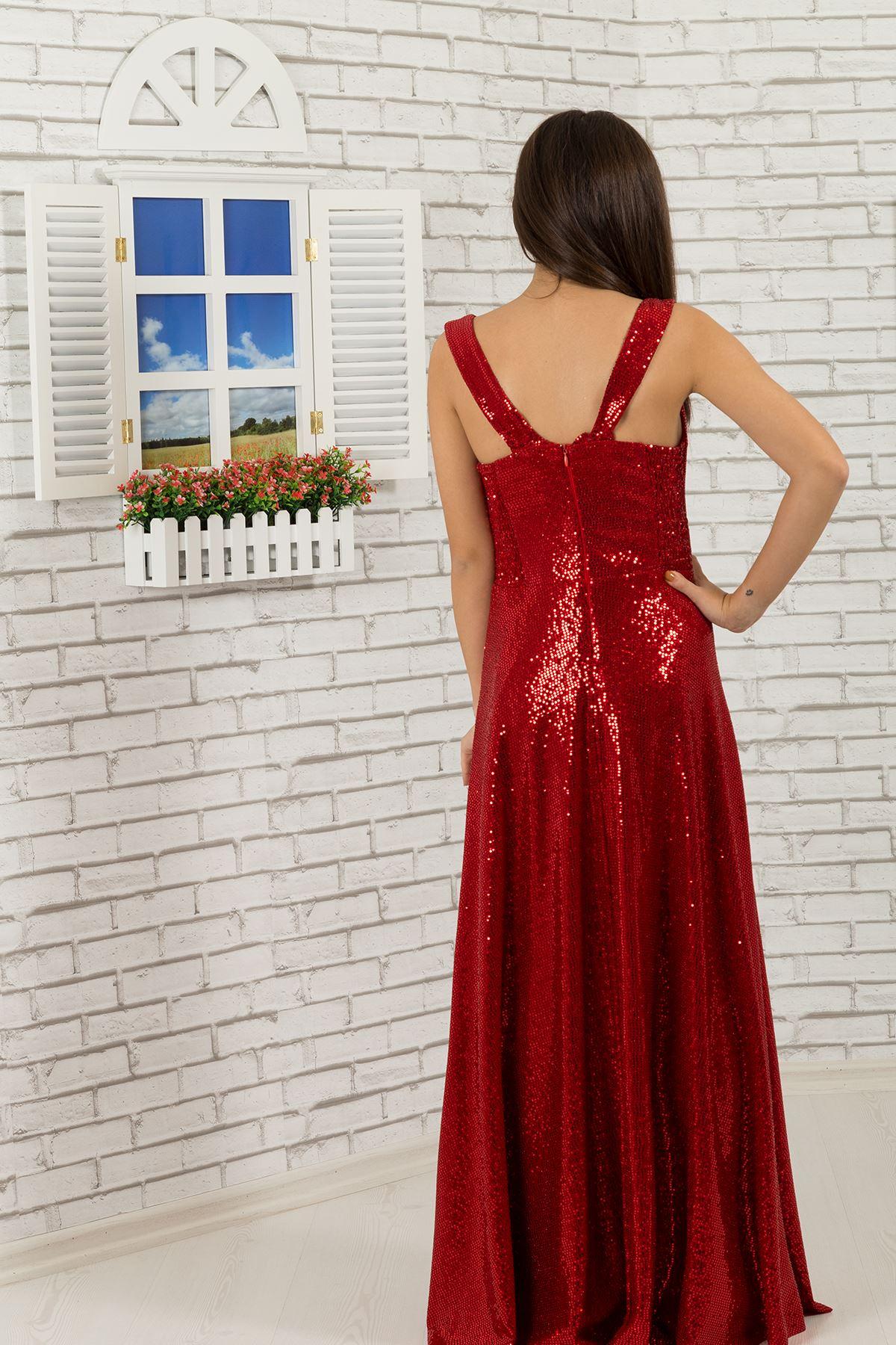 Блискітки Тканина Дівчина Плаття 477 Червоний