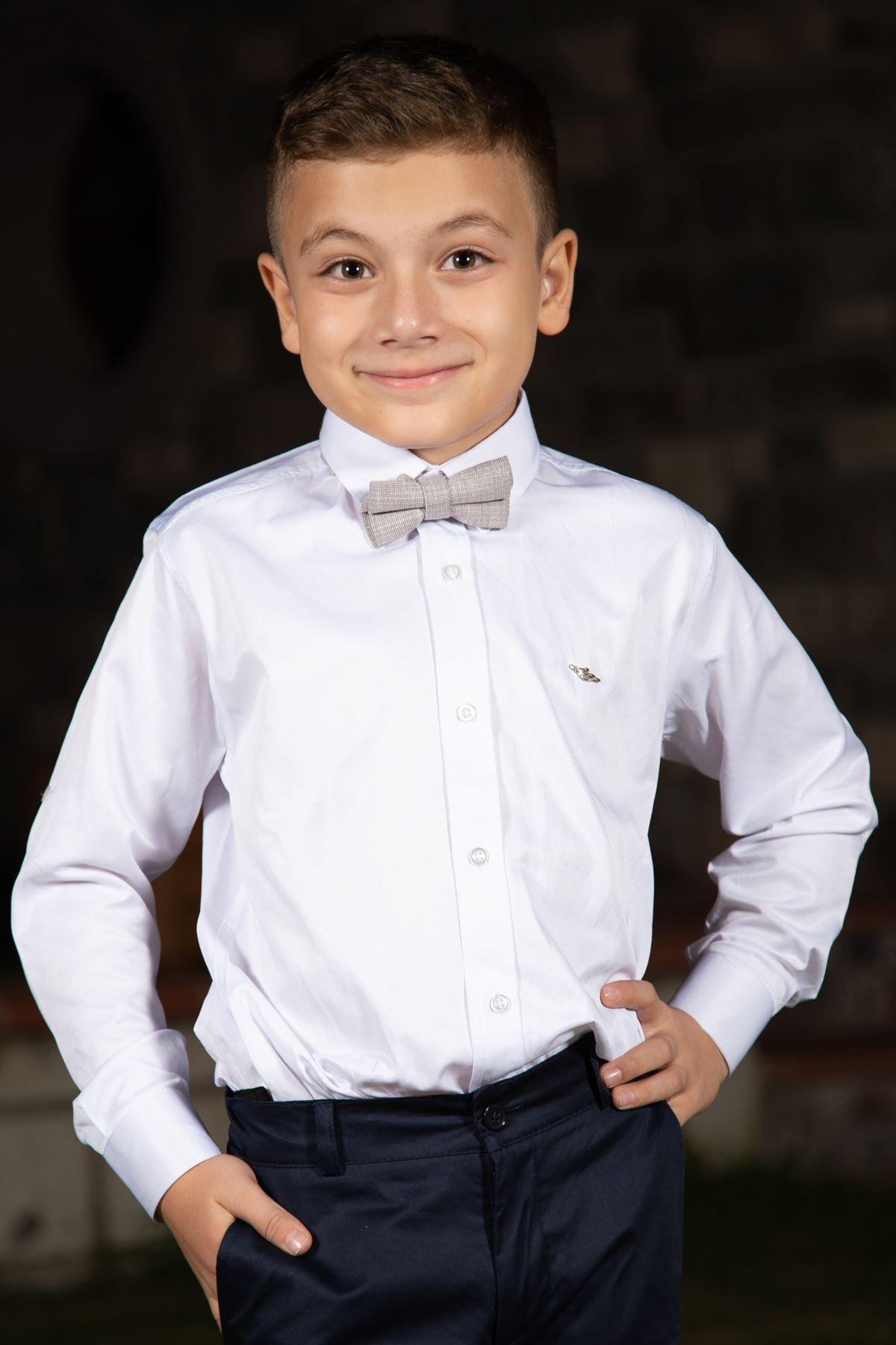 Обычный воротник, Хлопок-сатин, Детальная розетка, Рубашка для мальчика 1007 Белый