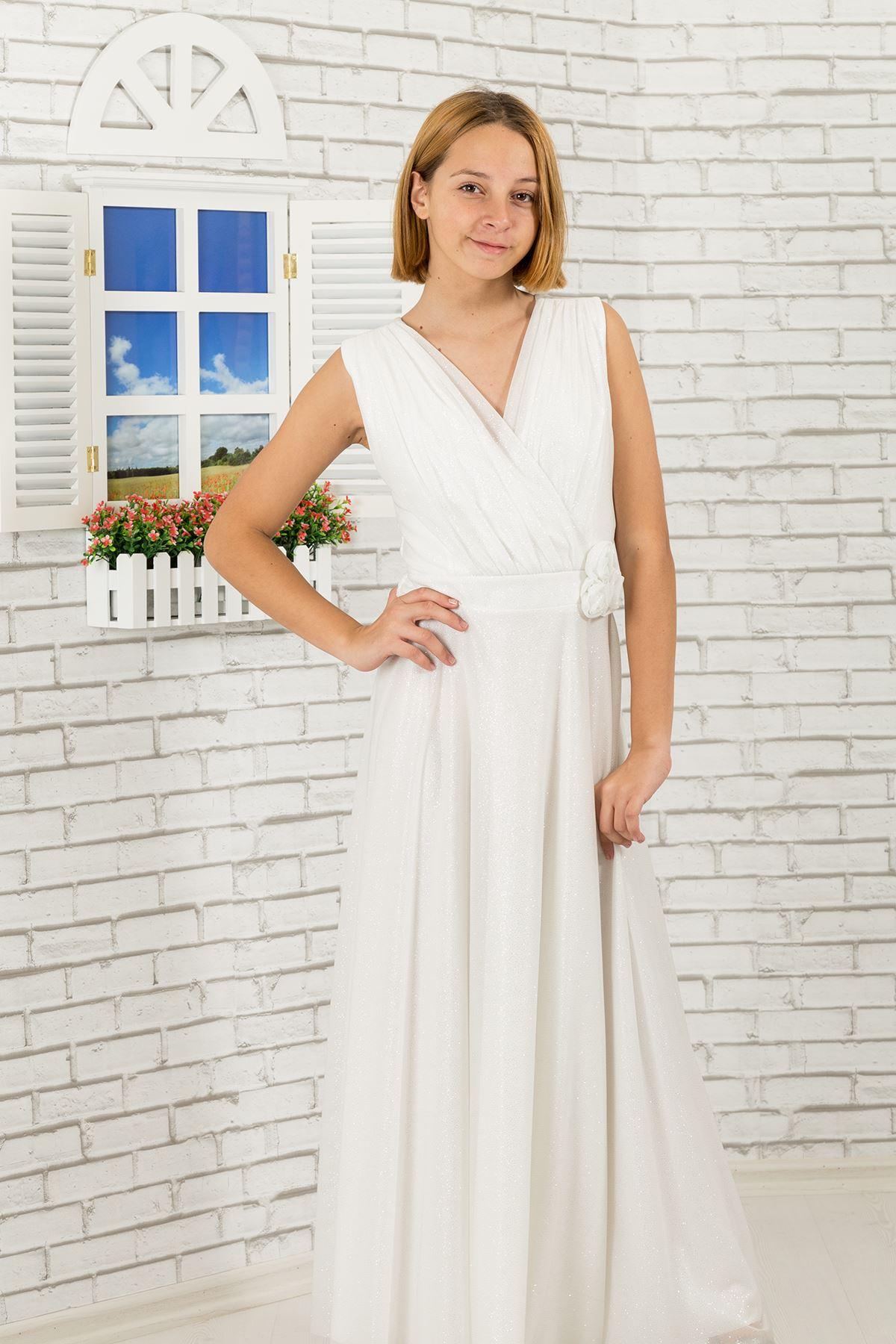 銀色のシフォン生地、vネック詳細女の子のイブニングドレス470アイボリー
