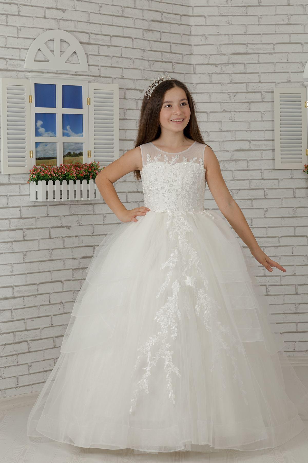 Kat Kat Etek ve Aplik Detaylı Kabarık Kız Çocuk Abiye Elbise 610 Krem