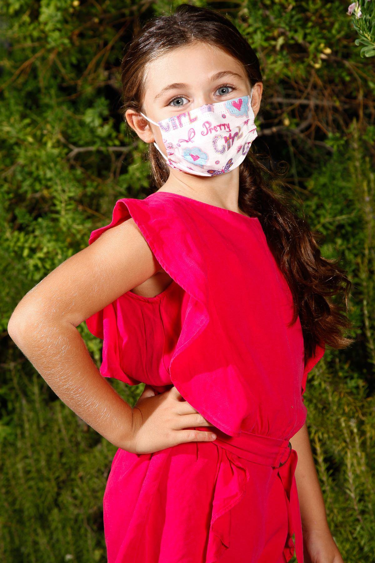 Одноразовые эластичные медицинские детские маски для лица с рисунком бабочки 10 Pack