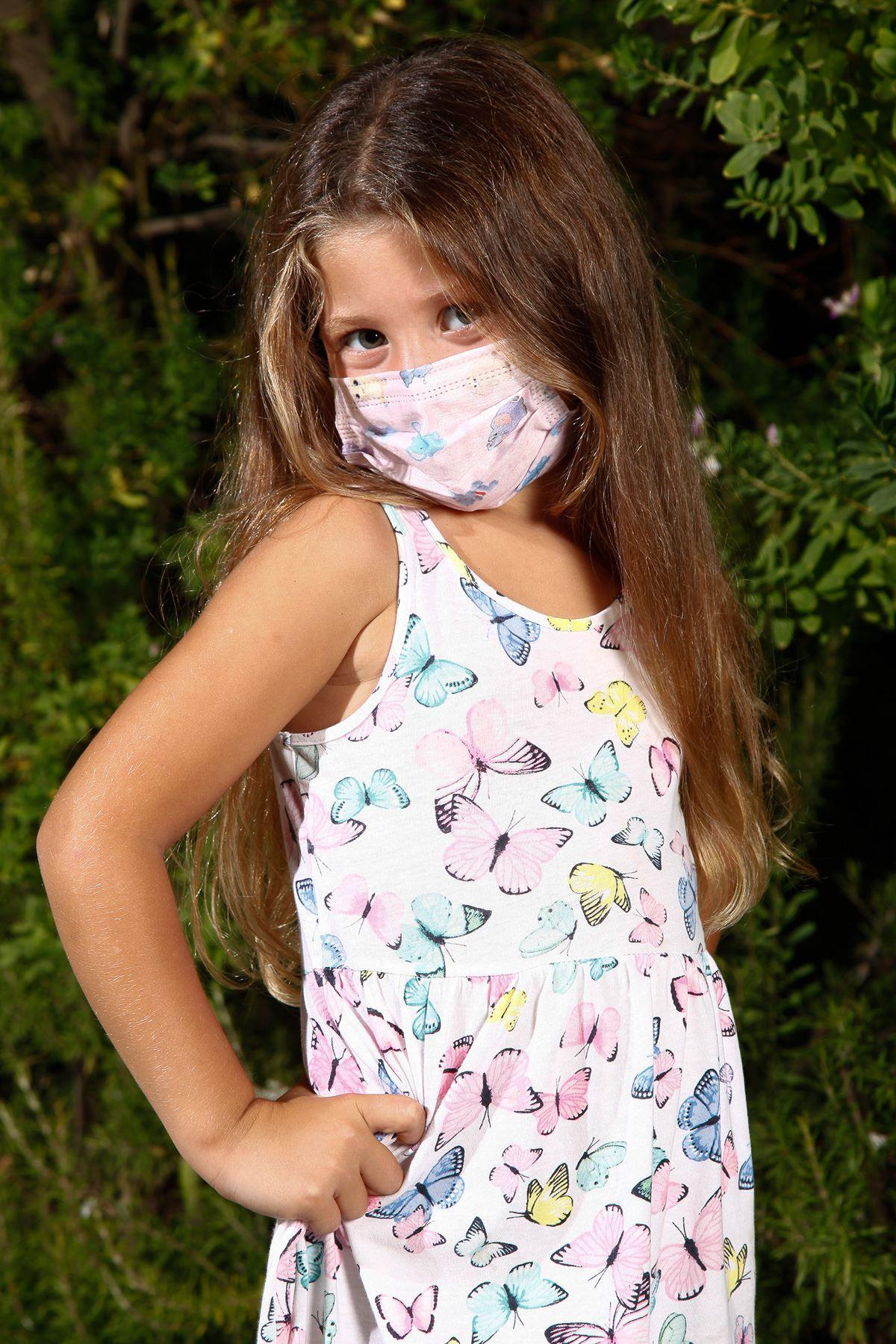 Одноразовые эластичные медицинские детские маски для лица с рисунком слона, 10 шт.