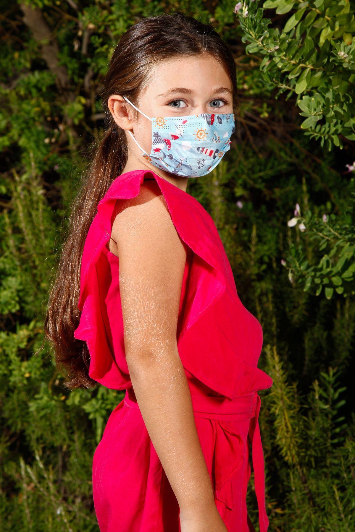 Wegwerpdraad elastiese mediese kinder gesigmasker met blou mariene patroon 10 pak