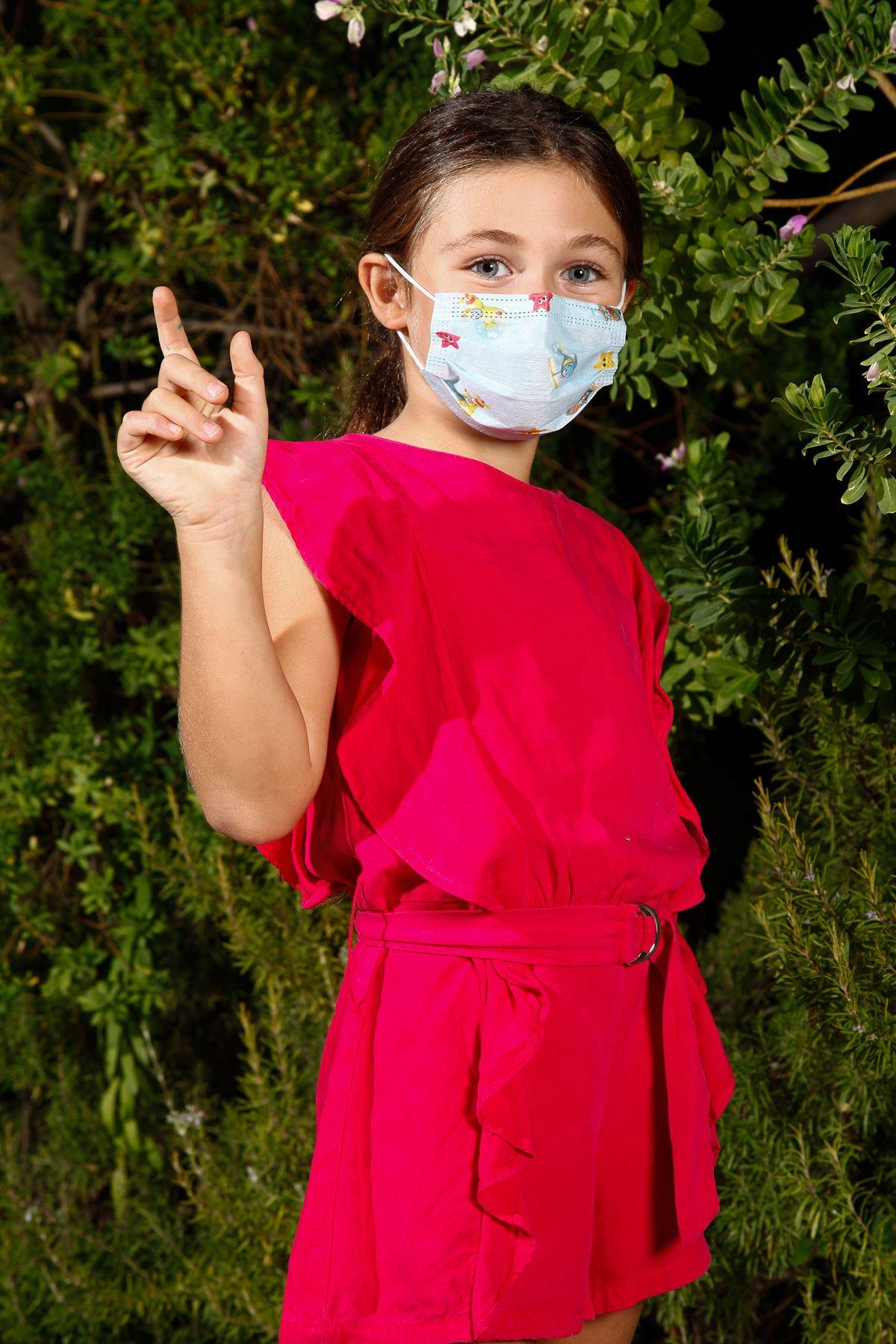 Einwegdraht Gummi Medizinische Kindergesichtsmaske Automuster 10er Pack