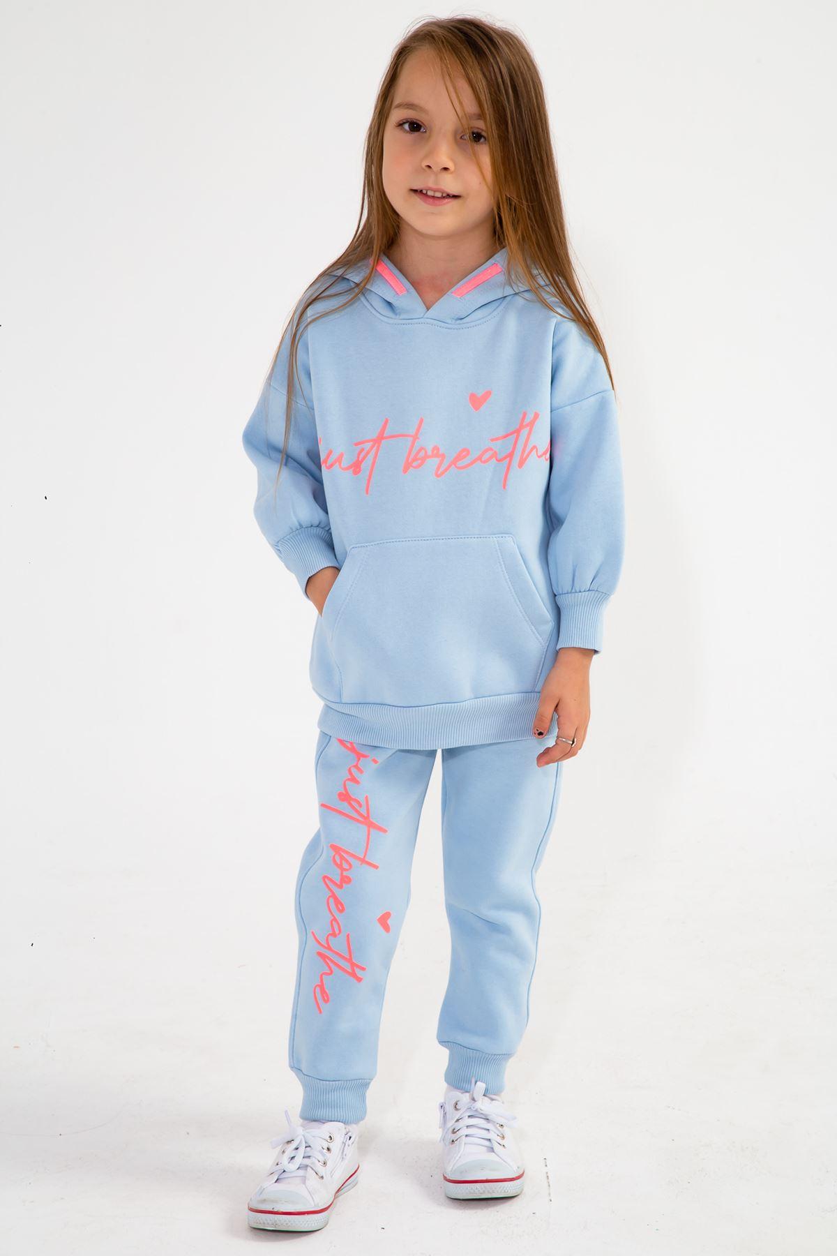 Kız Çocuk Kapşonlu Eşofman Takım Bebe Mavi