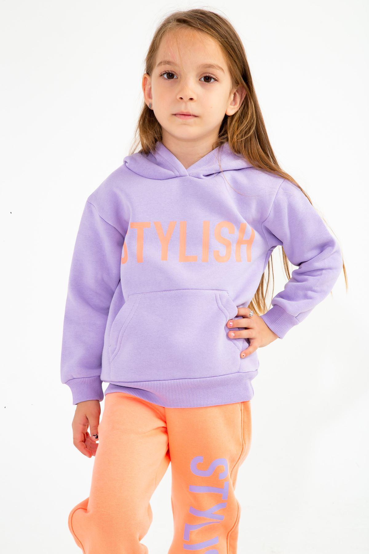 Kız Çocuk Baskılı Eşofman Takım Lila