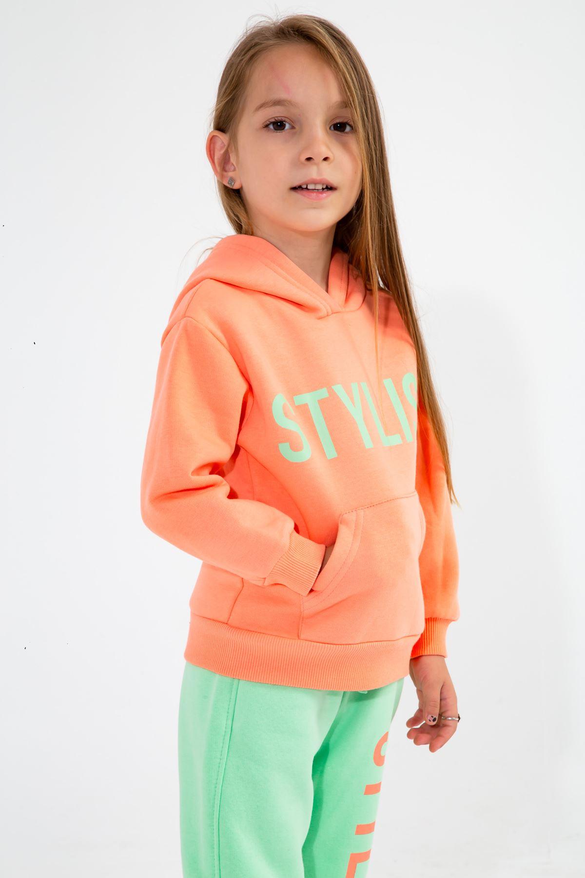 Kız Çocuk Baskılı Eşofman Takım Oranj