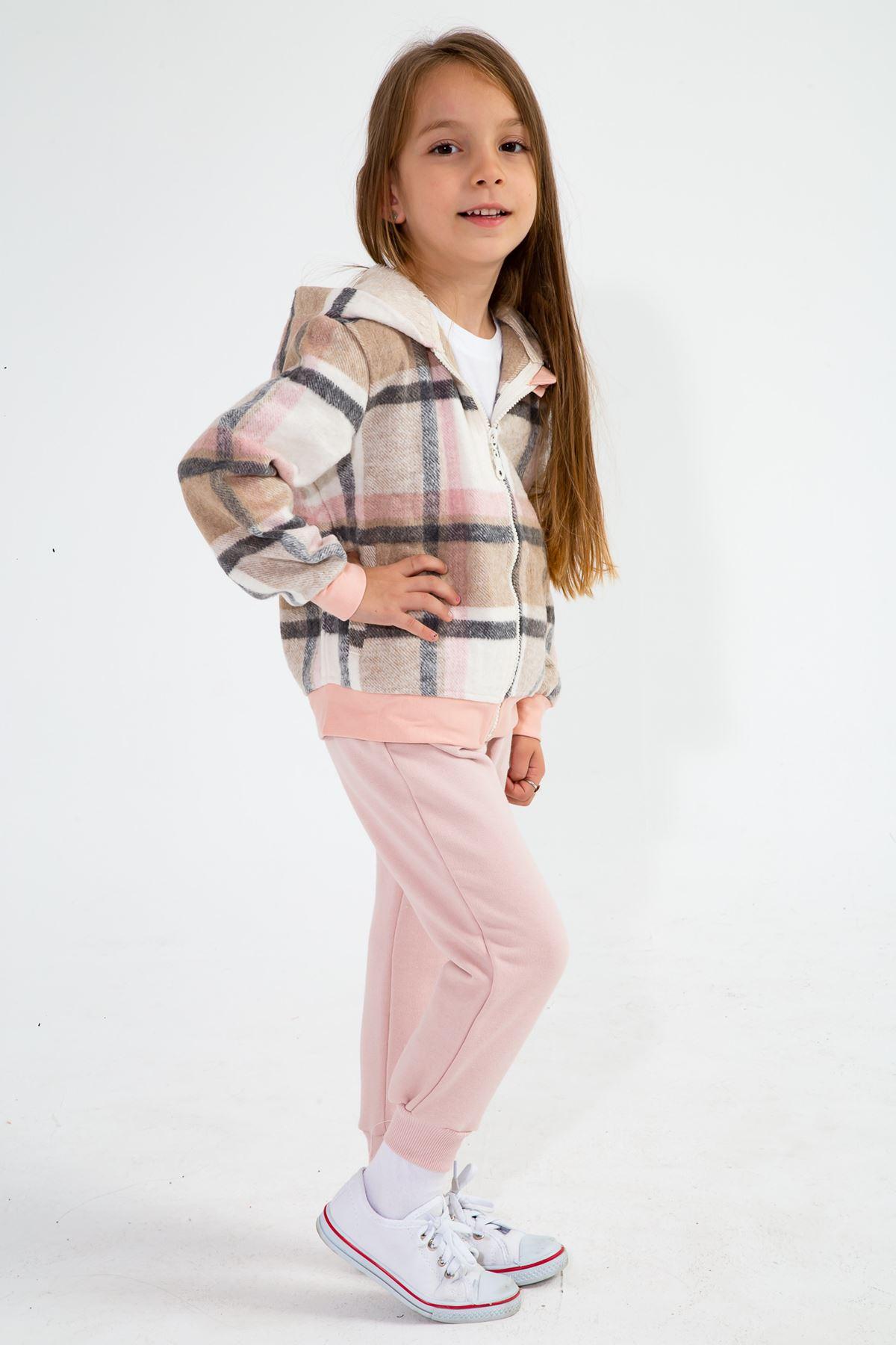Kız Çocuk Ekose Kapşonlu Hırka Pembe