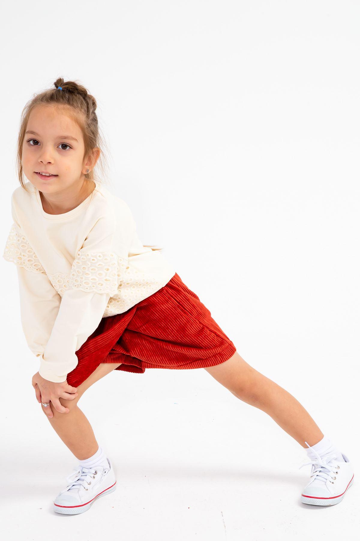 Kız Çocuk Kadife Anvelop Şort Kiremit