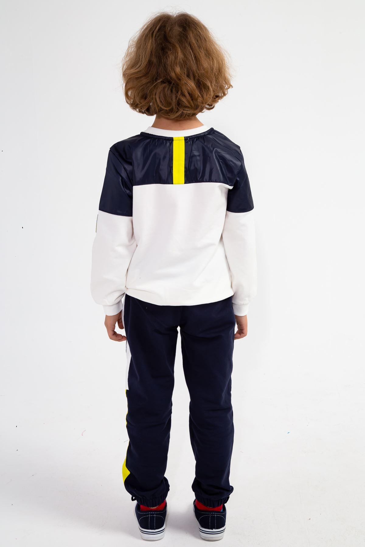 Erkek Çocuk Uzay Desenli Eşofman Takım Krem