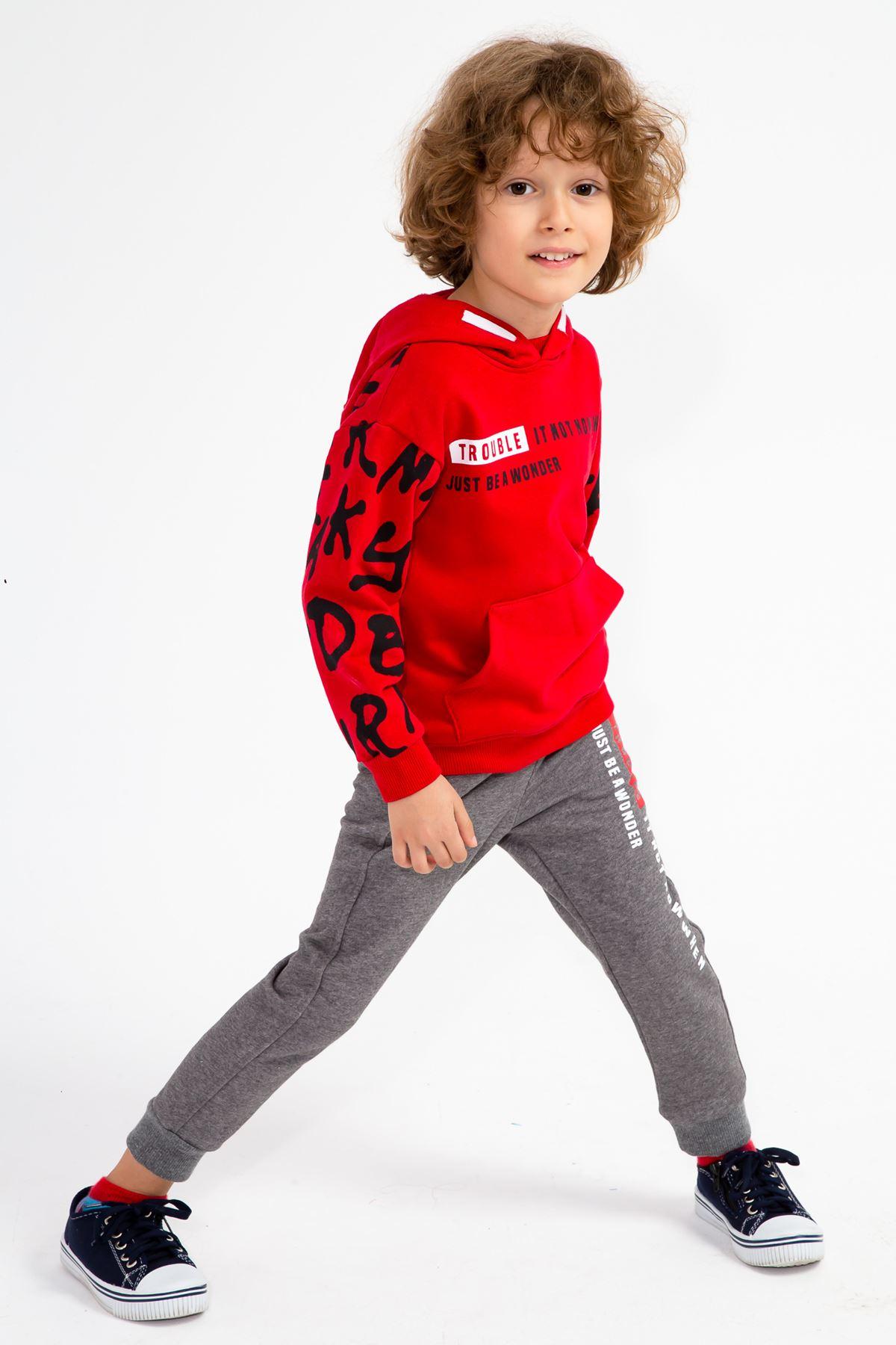 Erkek Çocuk Baskılı Kapşonlu Eşofman Takım Kırmızı