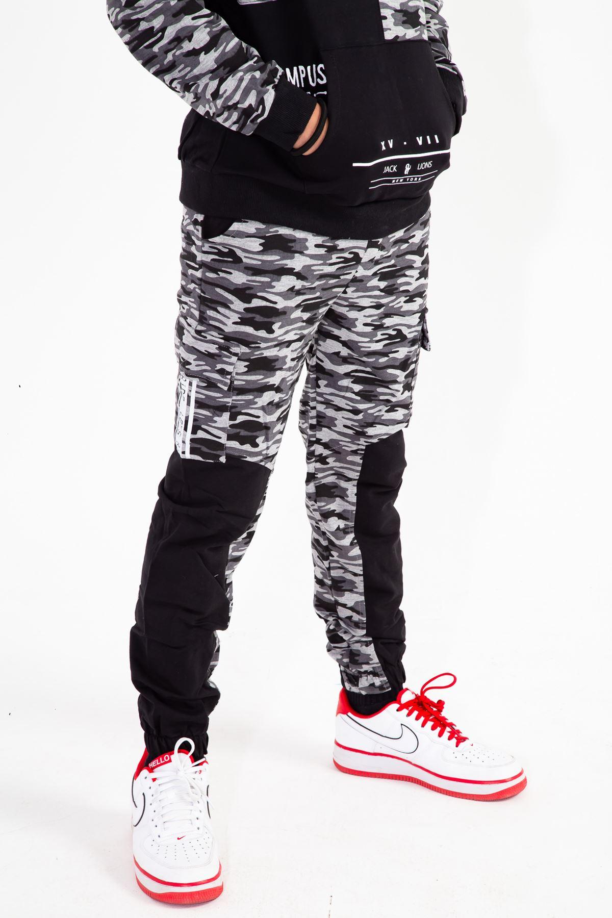 Erkek Çocuk Kamuflaj Eşofman Takım Siyah