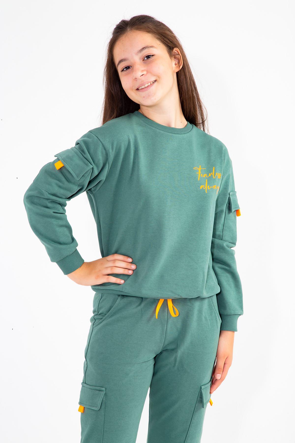 Kız Çocuk Koldan Cepli Eşofman Takım Yeşil
