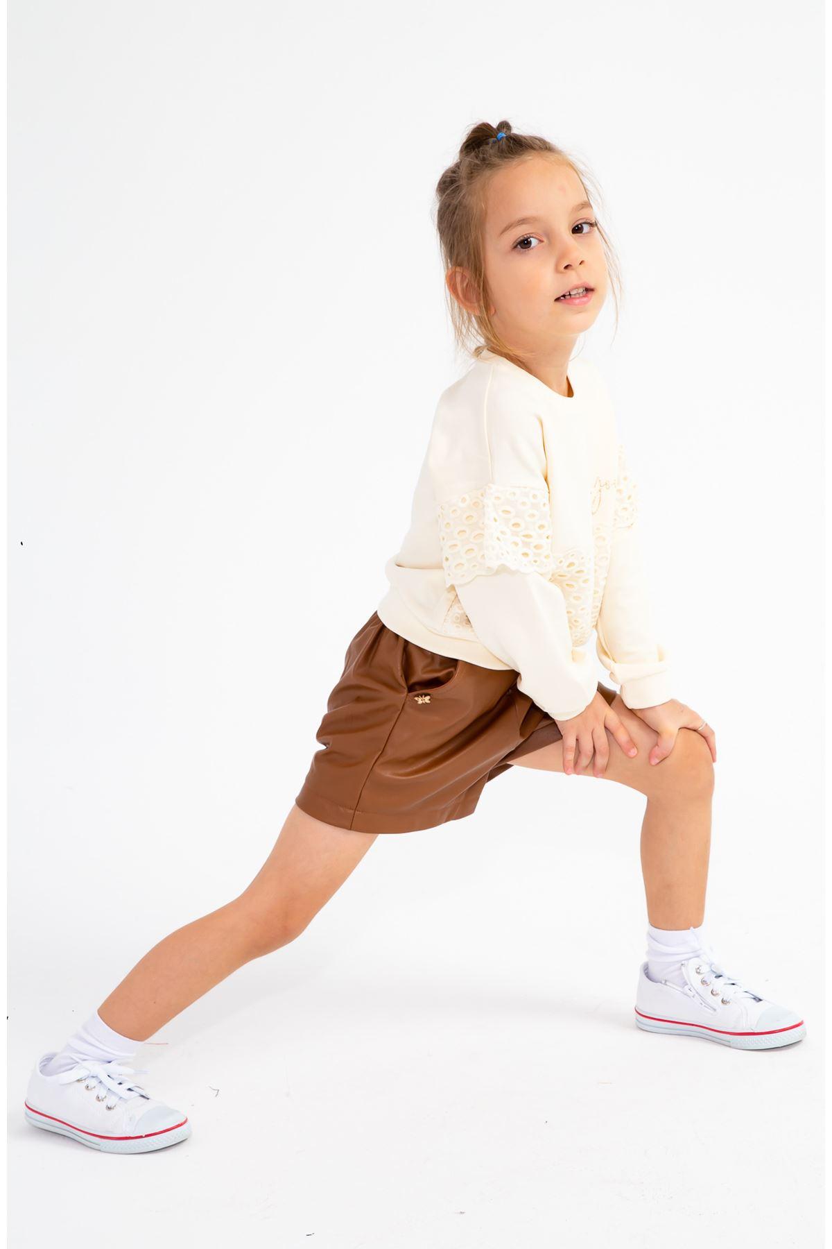 Kız Çocuk Kelebekli Deri Şort Kahverengi